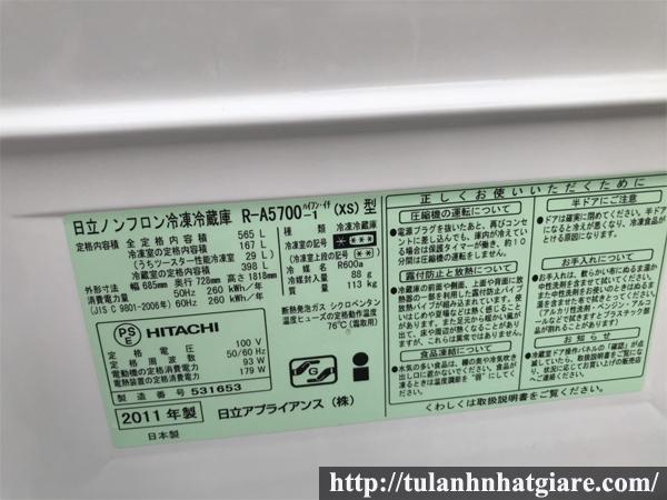 Tủ lạnh nội địa HITACHI R-A5700 Hút chân không
